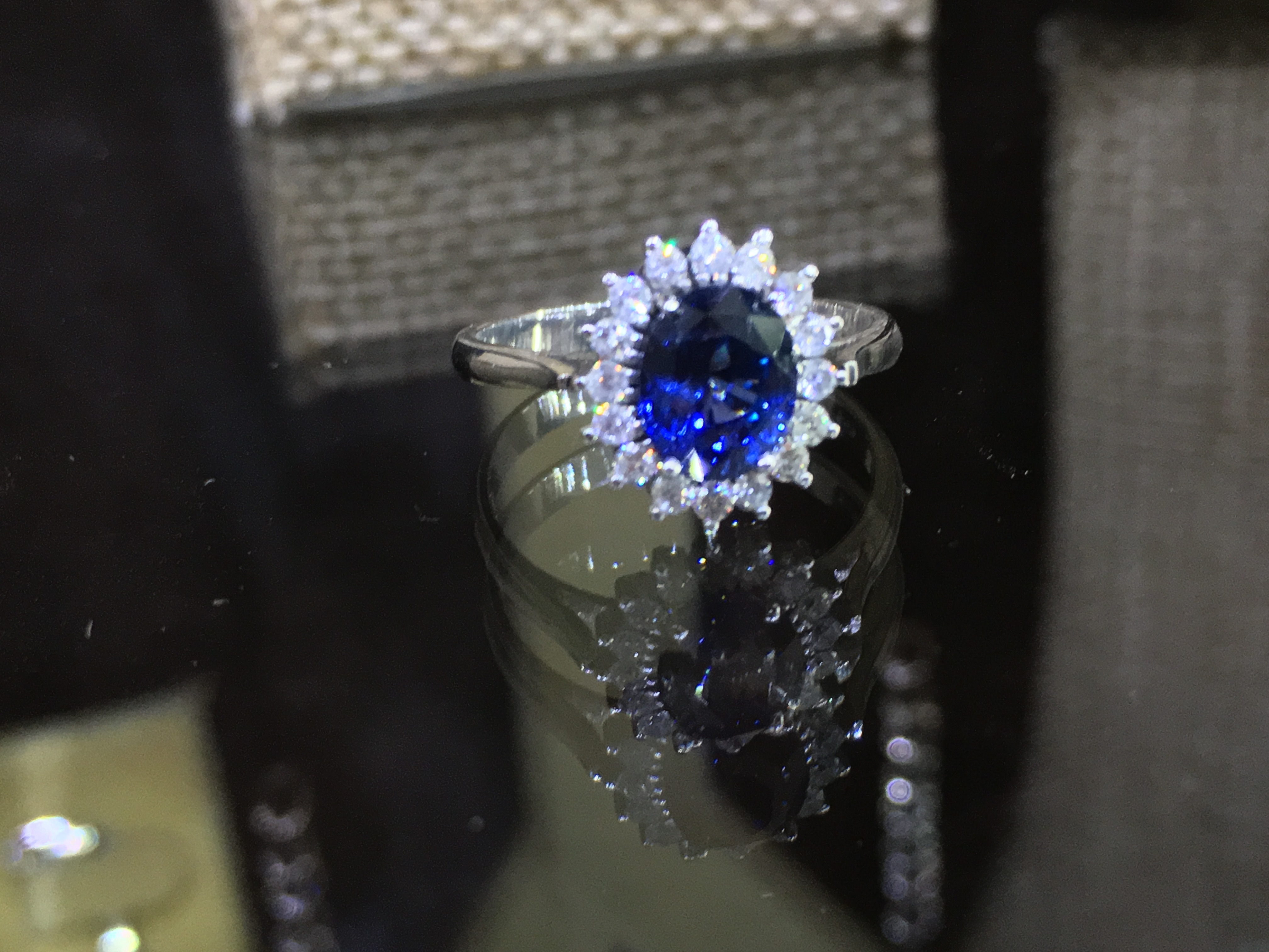 Natural Blue Sapphire Amp Diamond Cluster Ring Lihiniya Gems